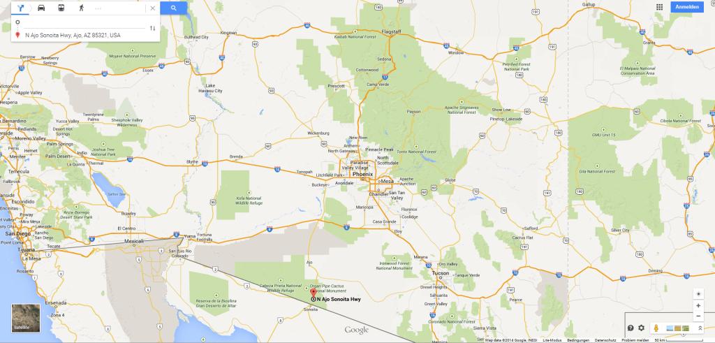 Karte Organ Pipe Cactus NM